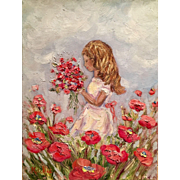 Little Girl in White Dress with Poppies Original Oil Painting 1216