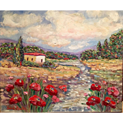Tuscany Italy Red Poppies Original Oil Painting 20x24