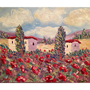 French Provence Red Poppies Original Oil Painting 24x20