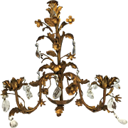 """Gilt French Metal Tole Candle Wall Sconce with Crystal Prisms, 1960s, 17""""x17"""""""