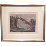 "Lovely Vintage Etching of Tuscany Italy 24"" x 20"" Silver Leaf Wood Frame"