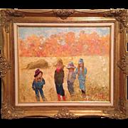 "Warik Wheatley Original Oil Painting Children ""Which Way Now"" 24x20 Milton Bradley /"