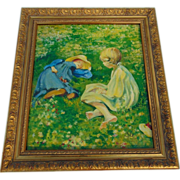 20th Century Oil Painting on Canvas of Girls in Field of Flowers