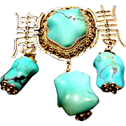 Chinese Export Vintage Large Turquoise Gold Vermeil Filigree Brooch