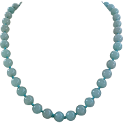 Vintage Pale Blue Aventurine 8 mm Gems Bead Necklace Filigree Clasp