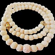 "Vintage 1960's Angel Skin Coral Necklace Carved Flower Beads 18.9 Grams 17 "" Length"