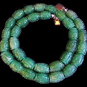 Rare Vintage Chinese Hand Carved Shou Design Green AVenturine Necklace