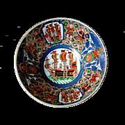 Antique 1800's Japanese Arita Imari Black Ships Dutch Merchants Large Bowl