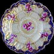 Antique 1880's Japanese Kutani Nippon Fluted Plate Roses Heavy Gold Beading Cobalt Edges