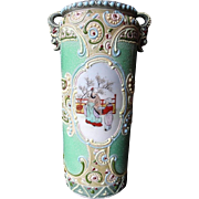 Antique Nippon Kutani Moriage Vase Hand Painted Famille Scenes 8 Inches Tall
