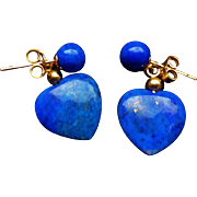 Vintage 14k Gold Lapis Lazuli Heart Shaped Earrings Pierced Ears