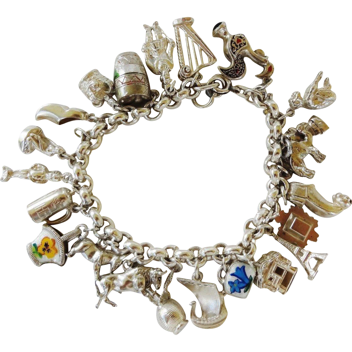 vintage 1940 s loaded travel charm bracelet large sterling