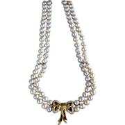 Mikimoto Cultured Pearls Necklace 18k Clasp Pave Diamonds