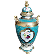 Antique 1908 Nippon Noritake Porcelain Vase Beaded Heavy Gold