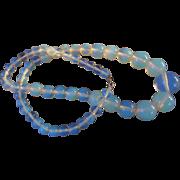 Vintage 1980's Opaline Opalite Glass Bead Graduated Necklace