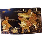 SOLD 19 th C. Antique French Paper Mache Box Japanese Famille Scene