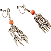 Vintage 1900's Asian Coral Silver Filigree Dangle Earrings