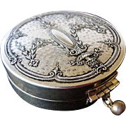 Art Deco 1920's Silver Repousse Dance Wrist Rouge Powder Compact