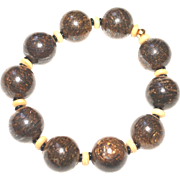 Men's Bronzite and Bone Bracelet