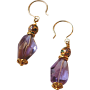 Ametrine Nuggets and Cloisonné with Vermeil Earrings