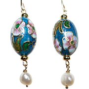 SOLD Vintage Teal Cloisonné Earrings with Cultured Freshwater Baroque Pearl Drops