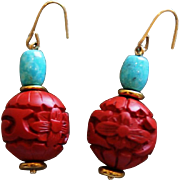 SOLD Cinnabar and Natural Nacozari Turquoise Earrings