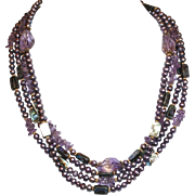 SOLD Lavender Cultured Freshwater Pearls, Amethyst and Abalone Necklace