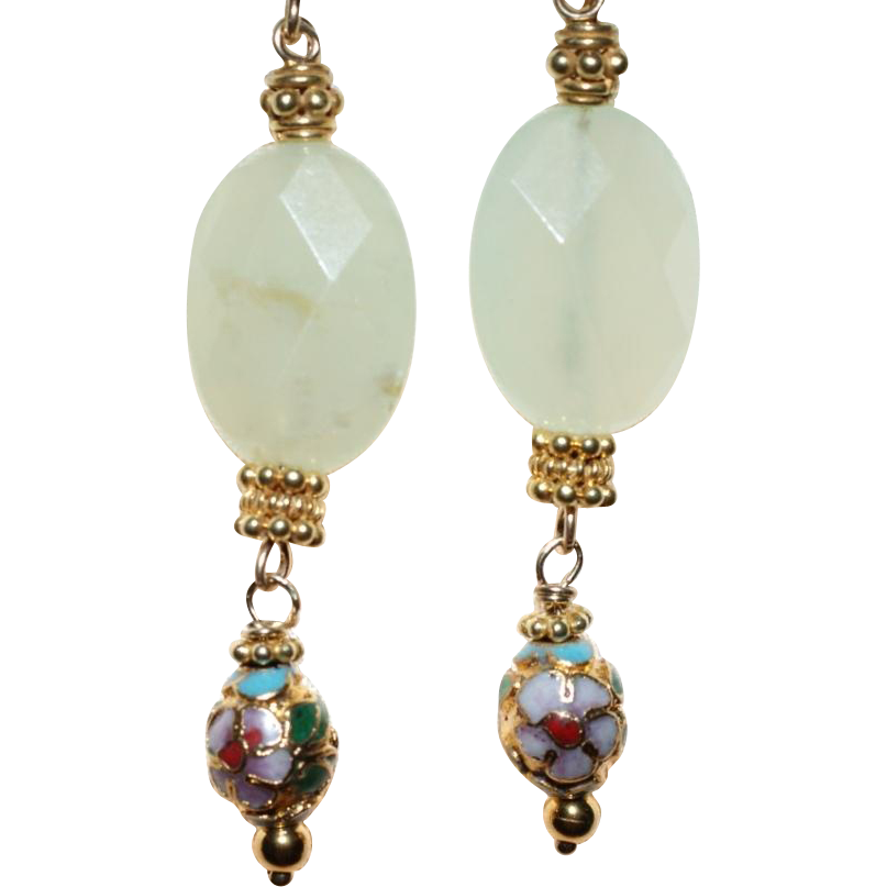 prehnite and vintage cloisonn 233 earrings