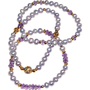 Trio of Lavender Freshwater Pearl and Amethyst Bracelets