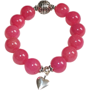 SOLD Bright Cherry Pink Glass and Bali Silver Bracelet with Sterling Silver Heart Charm