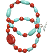 Pair of Turquoise and Sponge Coral with Bali Silver and Sterling Silver Lightning Charm