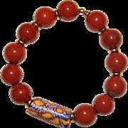 Red Jasper Bracelet with early 1900's Venetian Millefiori African Trade Bead