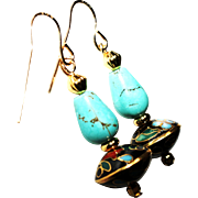 Vintage Black Cloisonné and Turquoise Teardrop Earrings.