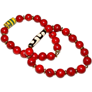 Pair of Red Fossil Stone (dyed) Bracelets with Vintage African Trade Bead and Batik Bone ...