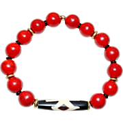 Red Fossil Stone (dyed) Bracelet with African Batik Bone Bead