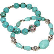 Pair of Chinese Turquoise and Bali Silver Bracelets with Cloisonné