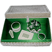 Bead work sewing box with matching tools. c 1840