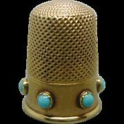 English 18 carat gold thimble set with turquoise. c 1860-1870