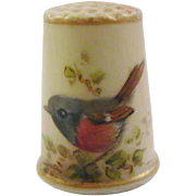 c1880 hand painted Worcester biscuit porcelain thimble.