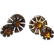 Early 1940's Vermeil sterling screw back earrings,  citrine glass rhinestone.