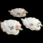 Vintage 30's porcelain Dresden Germany Fish bone plates x 3