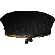 Vintage Black Brocade MM Morris Moskowitz clutch Purse