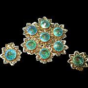 Gorgeous Large Rivoli round rhinestones Earrings and brooch.
