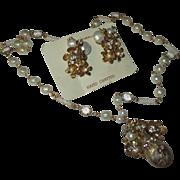 Vintage faux pearl, bezel, rhinestone Set Renaissance  New vintage Store stock.