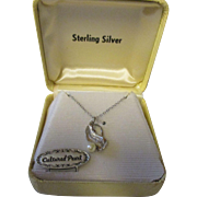Vintage New Stock sterling silver necklace with cultured pearl (Christmas Stocking stuffer)