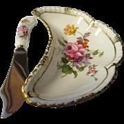 Vintage Royal Crown Derby Porcelain Oyster dish and knife