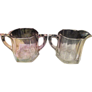 Late 19th Century large pressed cut glass creamer & sugar bowls.
