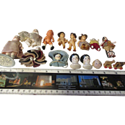 Antique Bisque Miniature dolls  (34 total ), German, Japan, and USA with display case.
