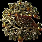 Partridge in a pair tree brooch by MONET