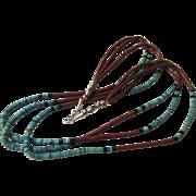 Fabulous pipestone, turquoise, acoma jet, sterling Dakota or Sioux heishi 3 strand necklace